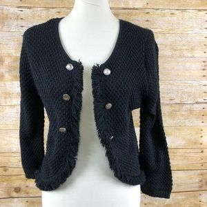 American Rag Fringe Knitted  Sweater Jacket